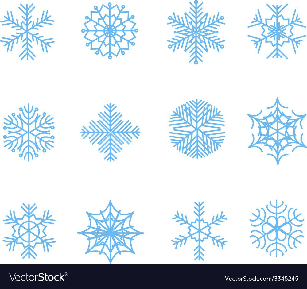 Snowflake icons set vector | Price: 1 Credit (USD $1)