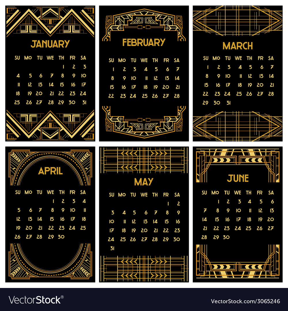 Art deco or gatsby calendar 2015 vector | Price: 1 Credit (USD $1)