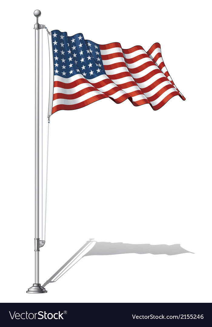 Flag pole us flag wwi wwii 48 stars vector | Price: 1 Credit (USD $1)
