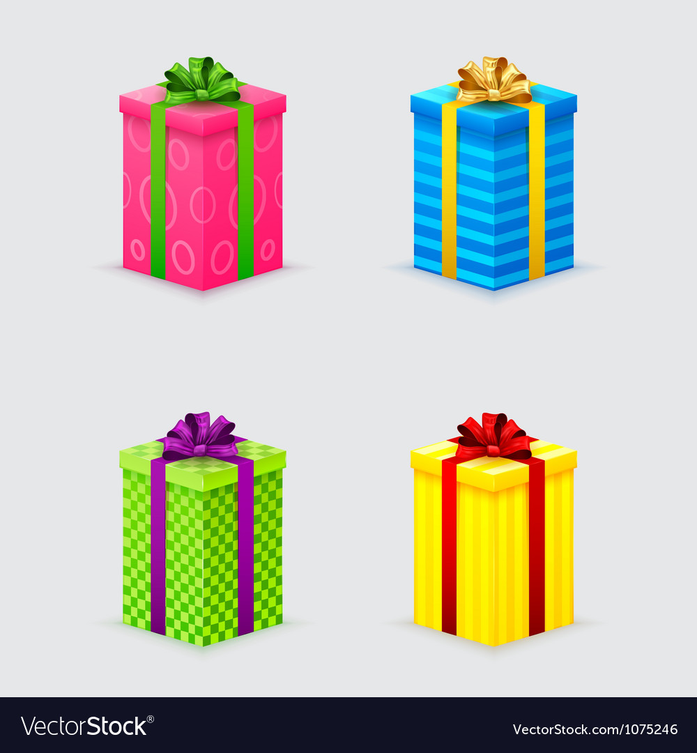 Four unopened gift boxes with ribbons and bows vector | Price: 1 Credit (USD $1)