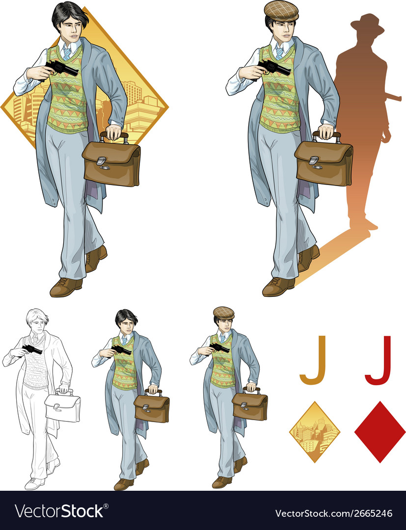 Jack of diamonds asian boy with a gun mafia card vector | Price: 3 Credit (USD $3)