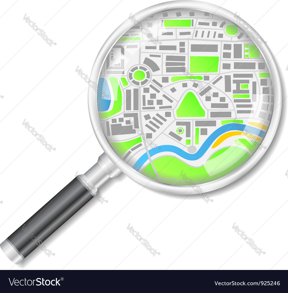 Magnifying glass with map vector | Price: 3 Credit (USD $3)