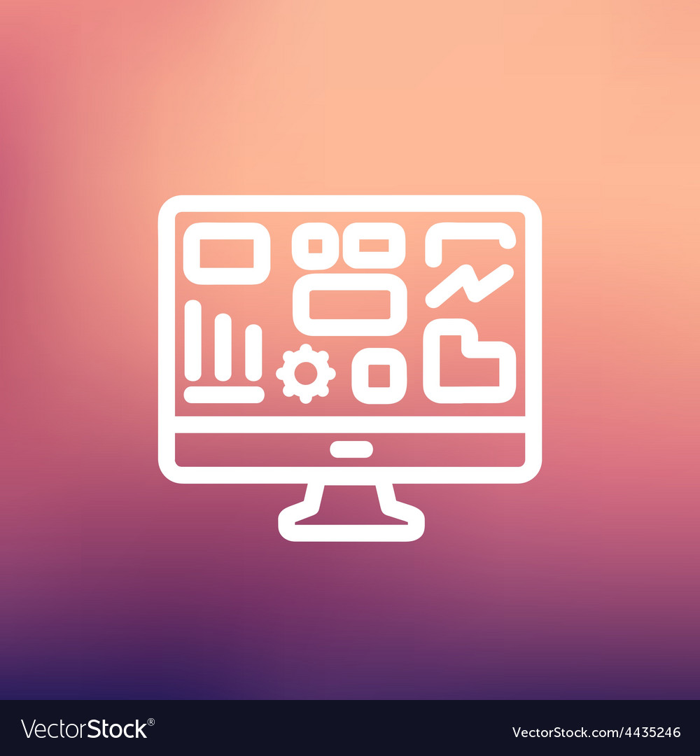 Monitor with business graph thin line icon vector | Price: 1 Credit (USD $1)