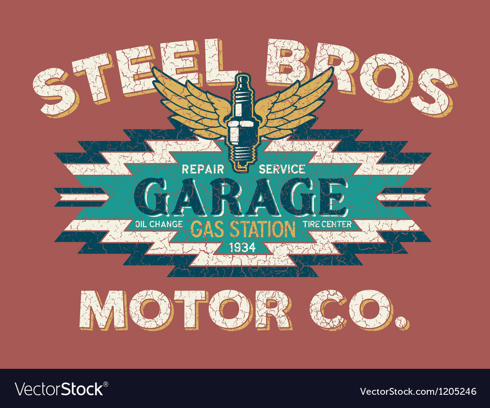 Motor company vintage sign vector | Price: 1 Credit (USD $1)