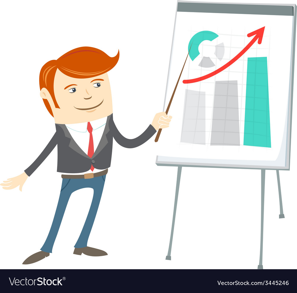 Office man presentating a graph on flipchart vector | Price: 1 Credit (USD $1)
