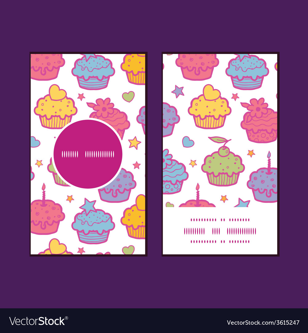 Colorful cupcake party vertical round frame vector | Price: 1 Credit (USD $1)
