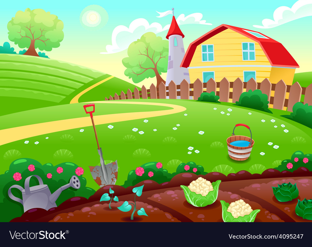 Funny countryside scenery with vegetable garden vector | Price: 3 Credit (USD $3)