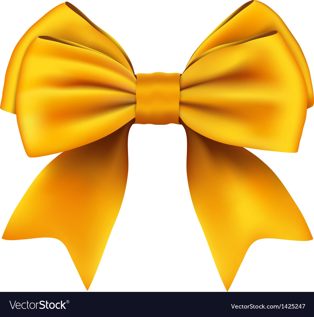 Golden bow and ribbon gift isolated on white vector | Price: 1 Credit (USD $1)