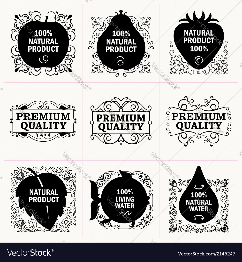 Natural-products-and-frames-collection-vector