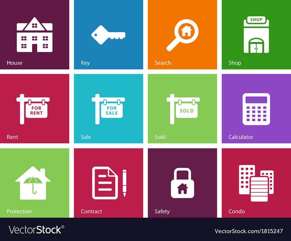 Real estate icons on color background vector | Price: 1 Credit (USD $1)