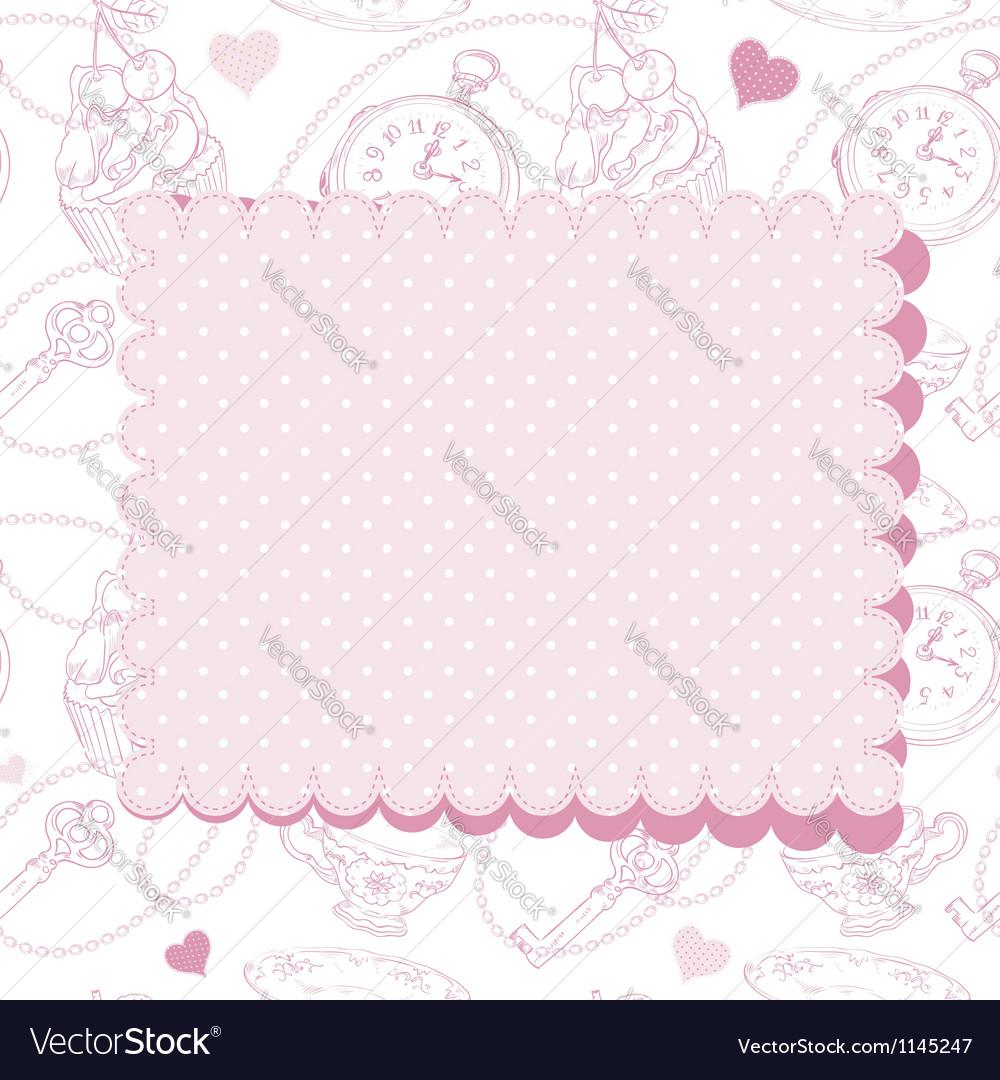 Romantic vintage valentine invitation postcard vector   Price: 1 Credit (USD $1)