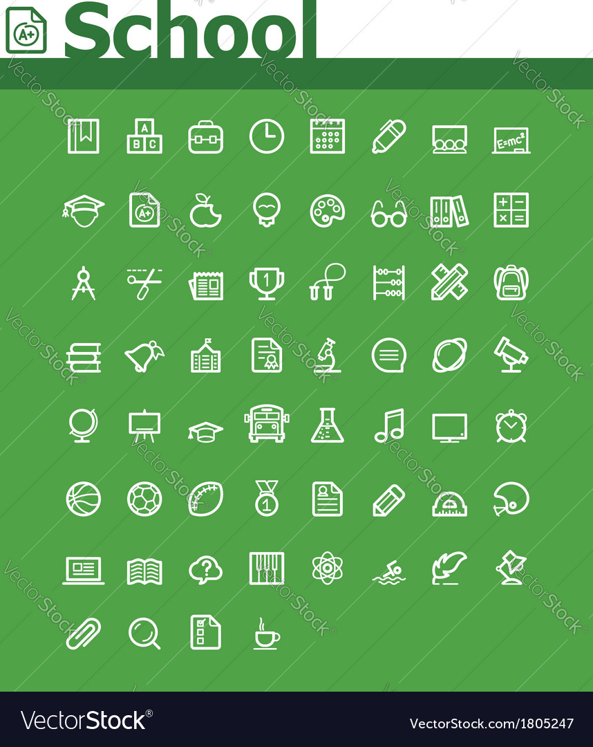 School icon set vector | Price: 1 Credit (USD $1)