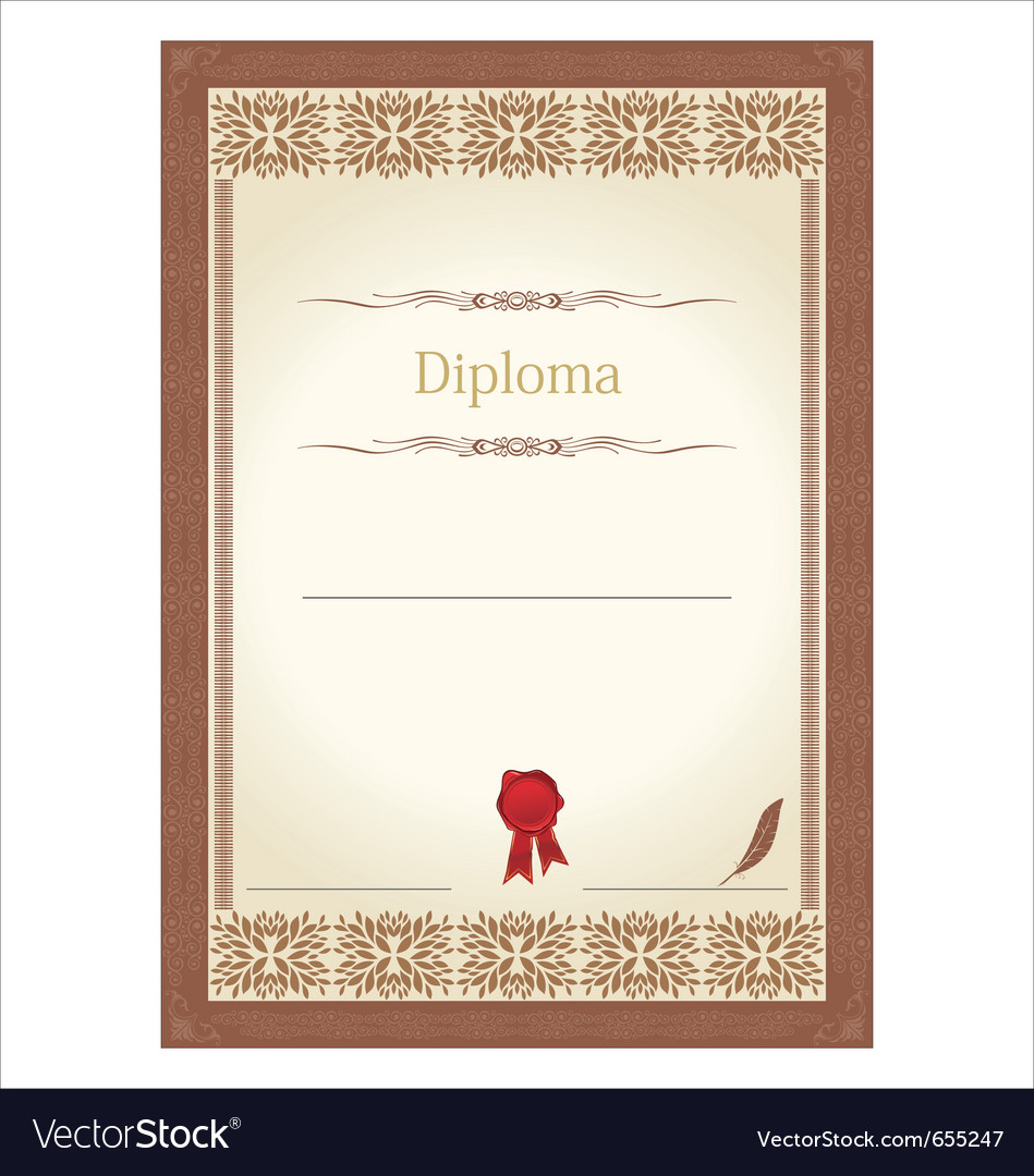 Vintage frame certificate or diploma template vector | Price: 1 Credit (USD $1)
