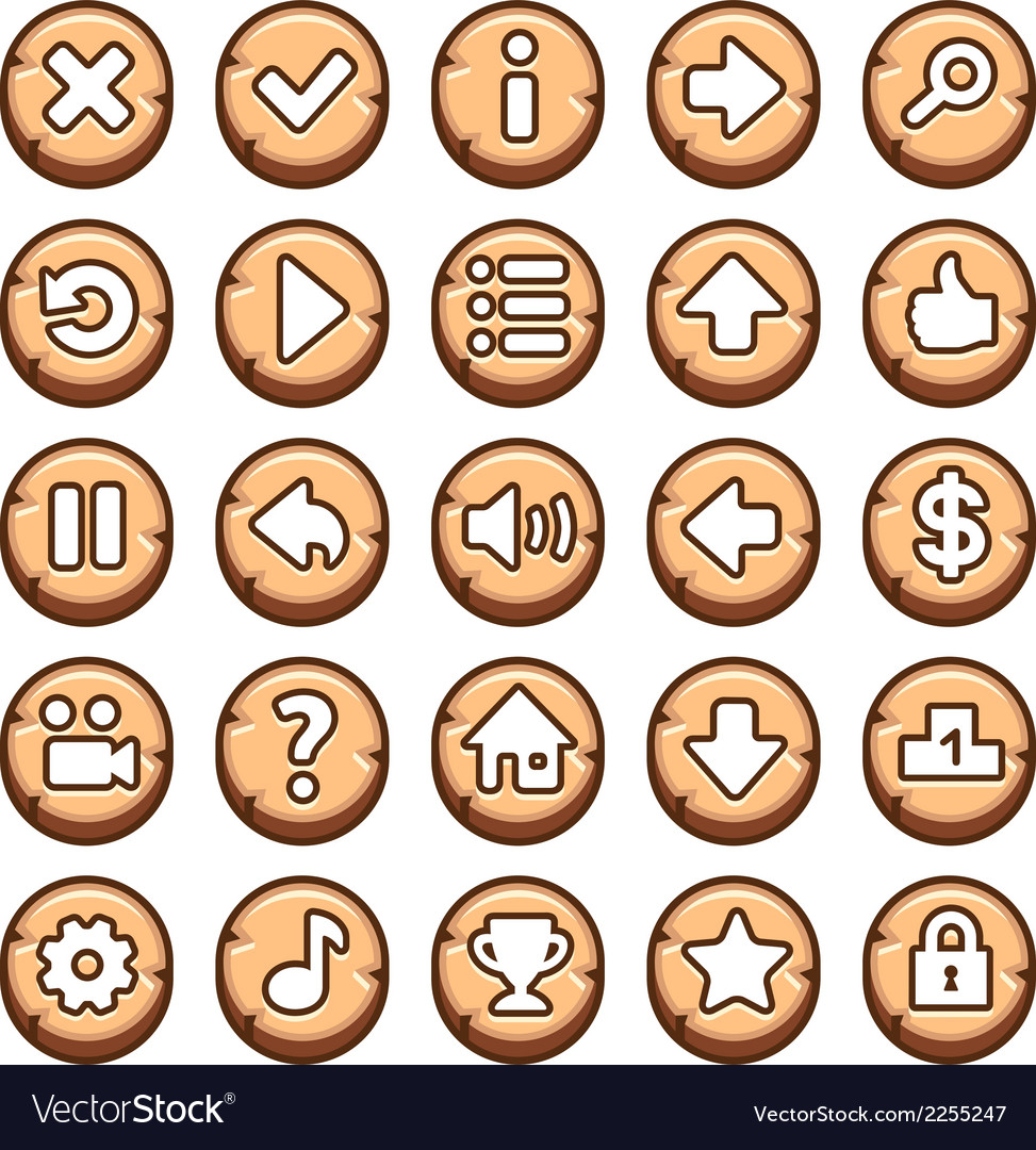Wooden round video game buttons vector | Price: 1 Credit (USD $1)