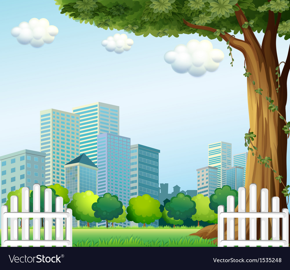A giant tree near the wooden fence across the tall vector | Price: 1 Credit (USD $1)