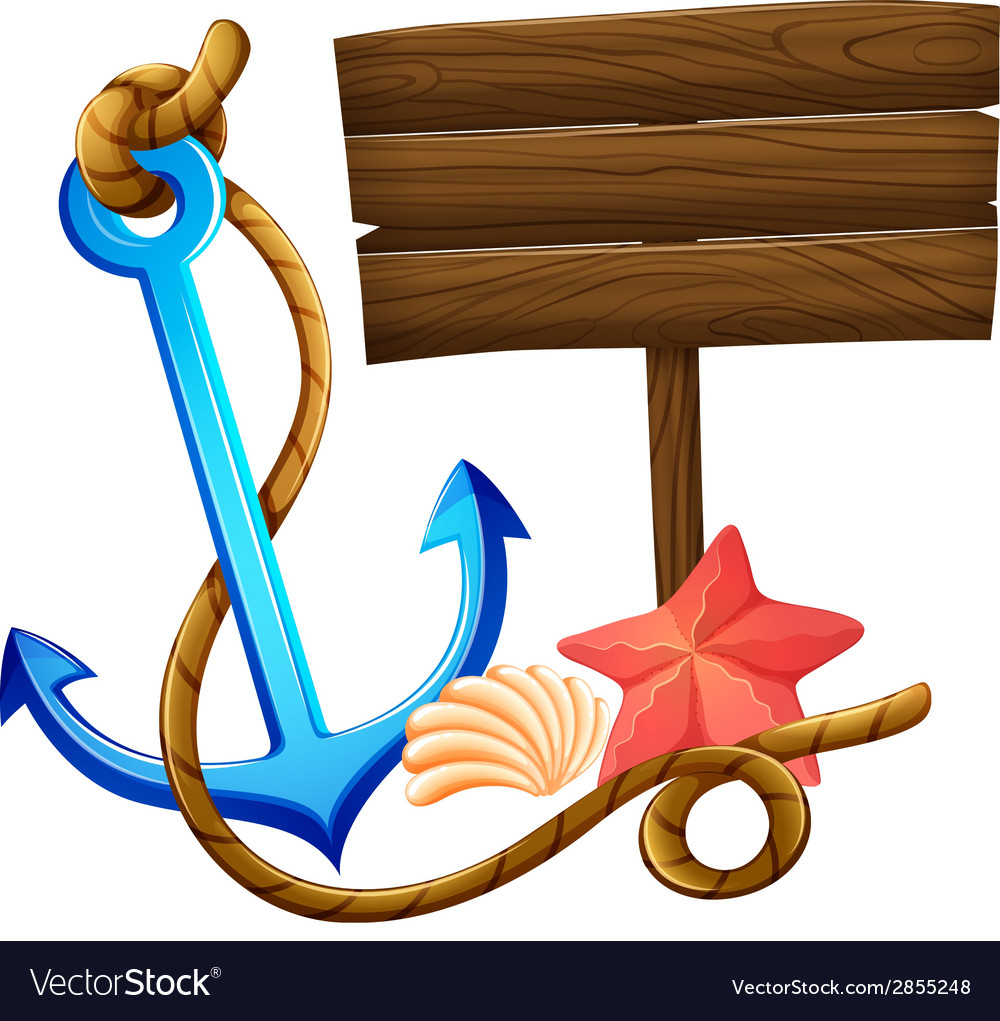 An empty signboard with an anchor and a rope vector | Price: 1 Credit (USD $1)