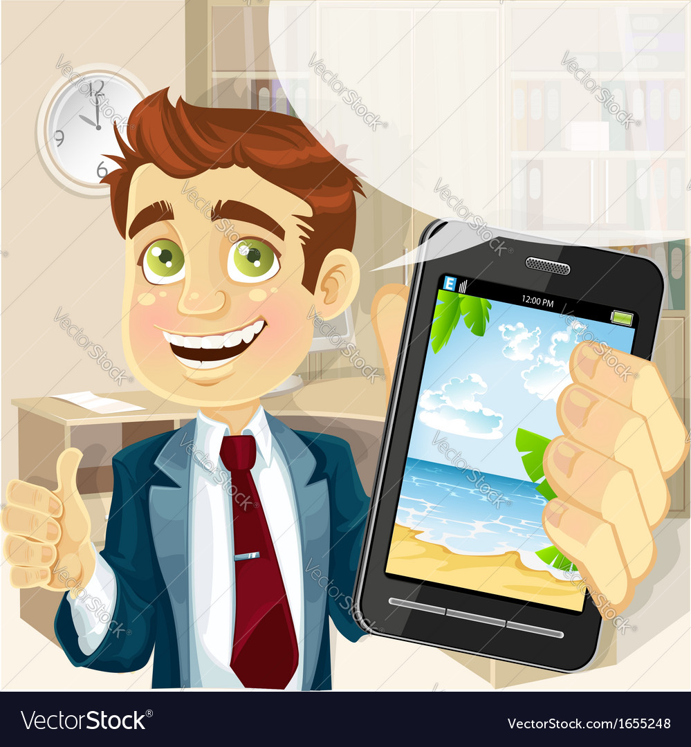 Business man in office shows a photo resort on the vector | Price: 3 Credit (USD $3)
