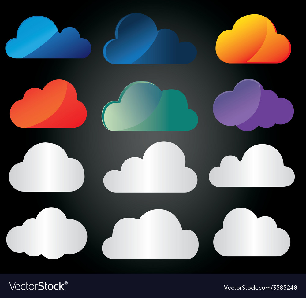 Clouds icons vector | Price: 1 Credit (USD $1)