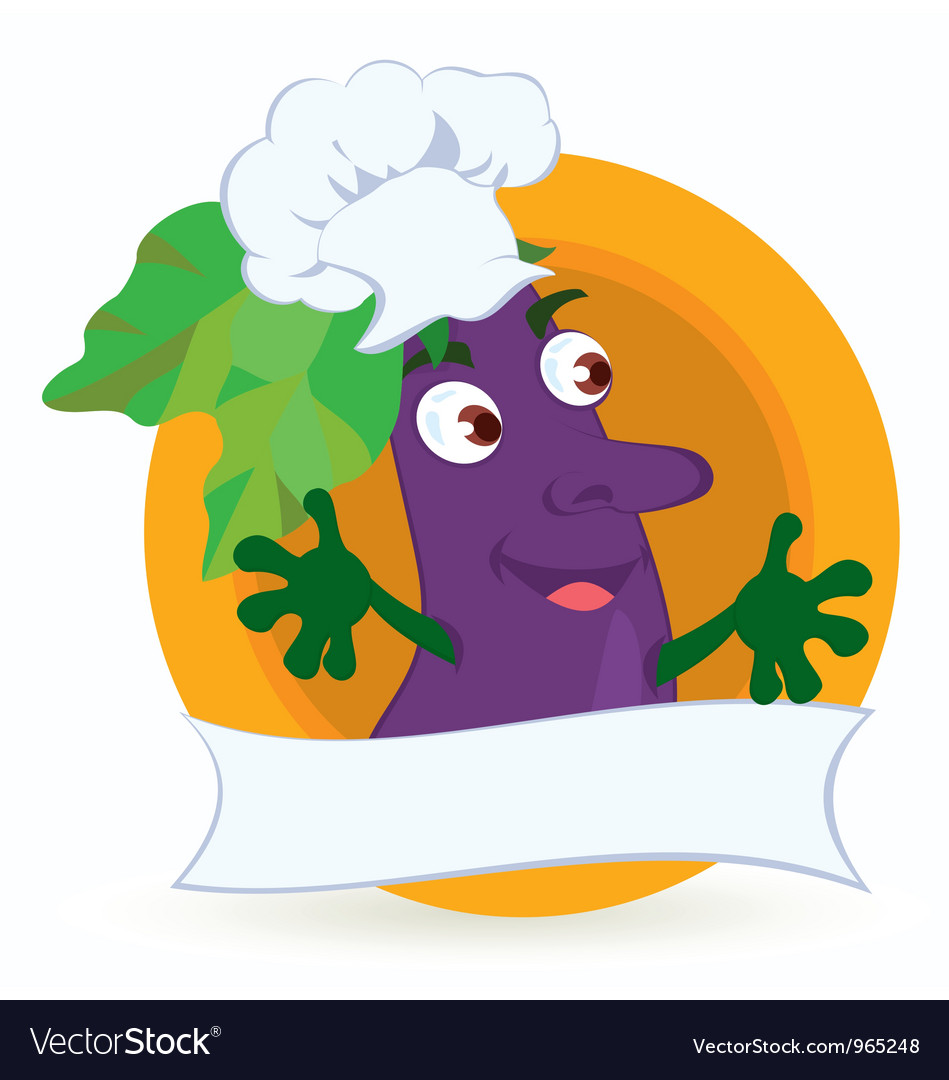 Eggplant cartoon character with promo ribbon vector   Price: 1 Credit (USD $1)