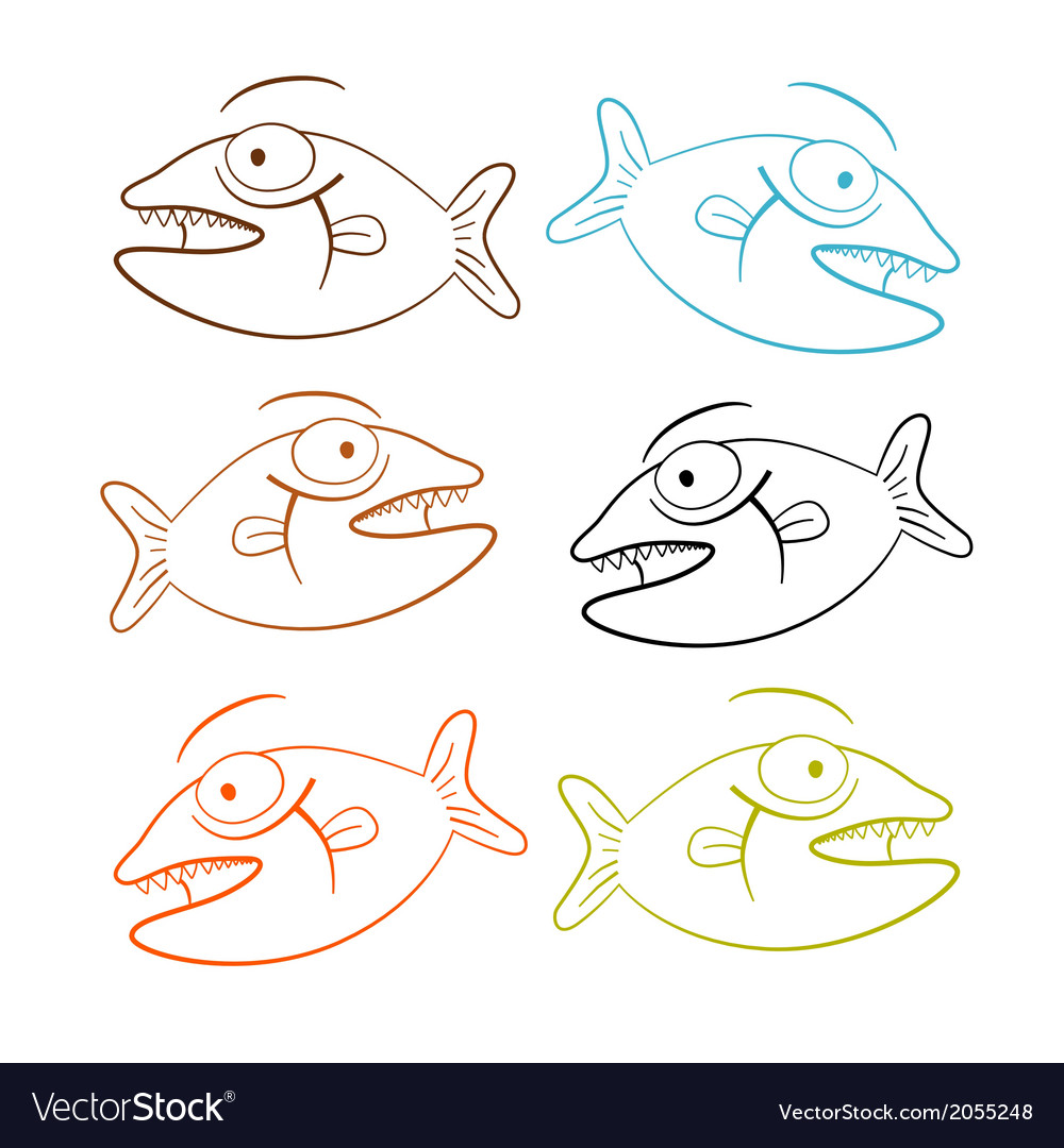 Fish outline set isolated on white background vector | Price: 1 Credit (USD $1)