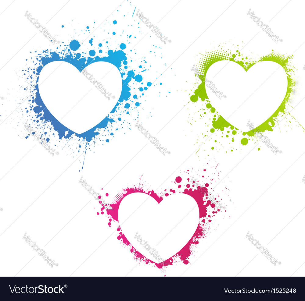 Grunge multicolored hearts vector | Price: 1 Credit (USD $1)