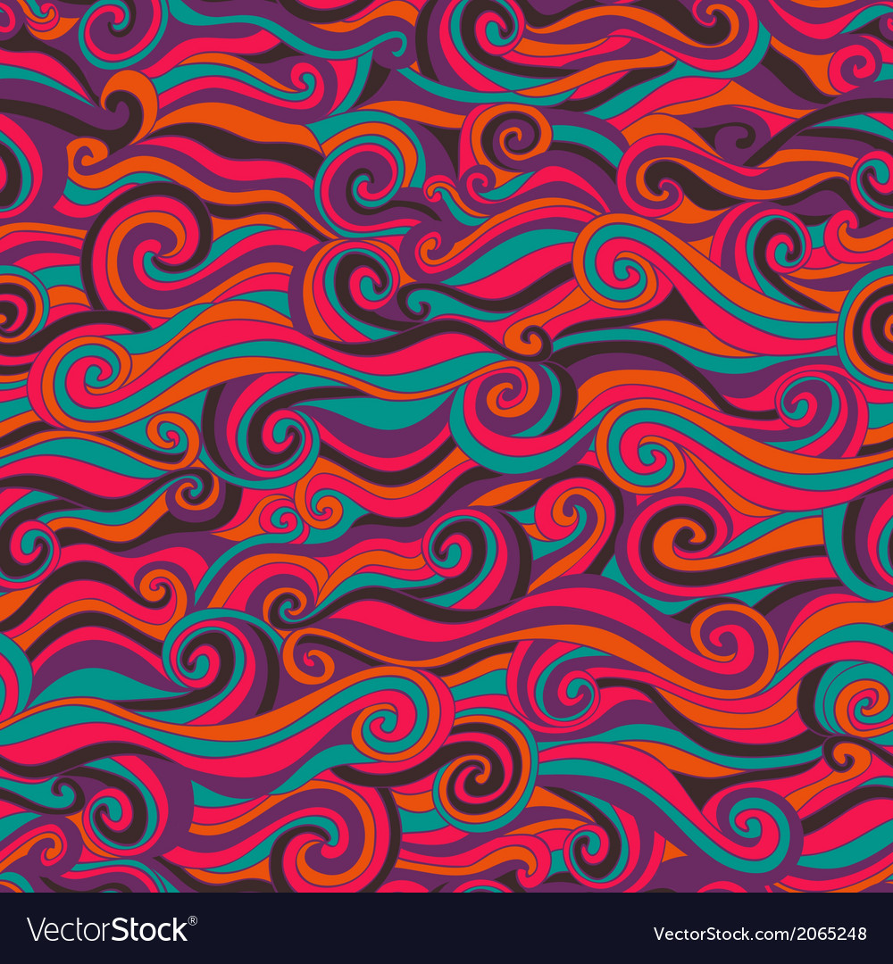 Seamless wave hand-drawn pattern waves background vector | Price: 1 Credit (USD $1)