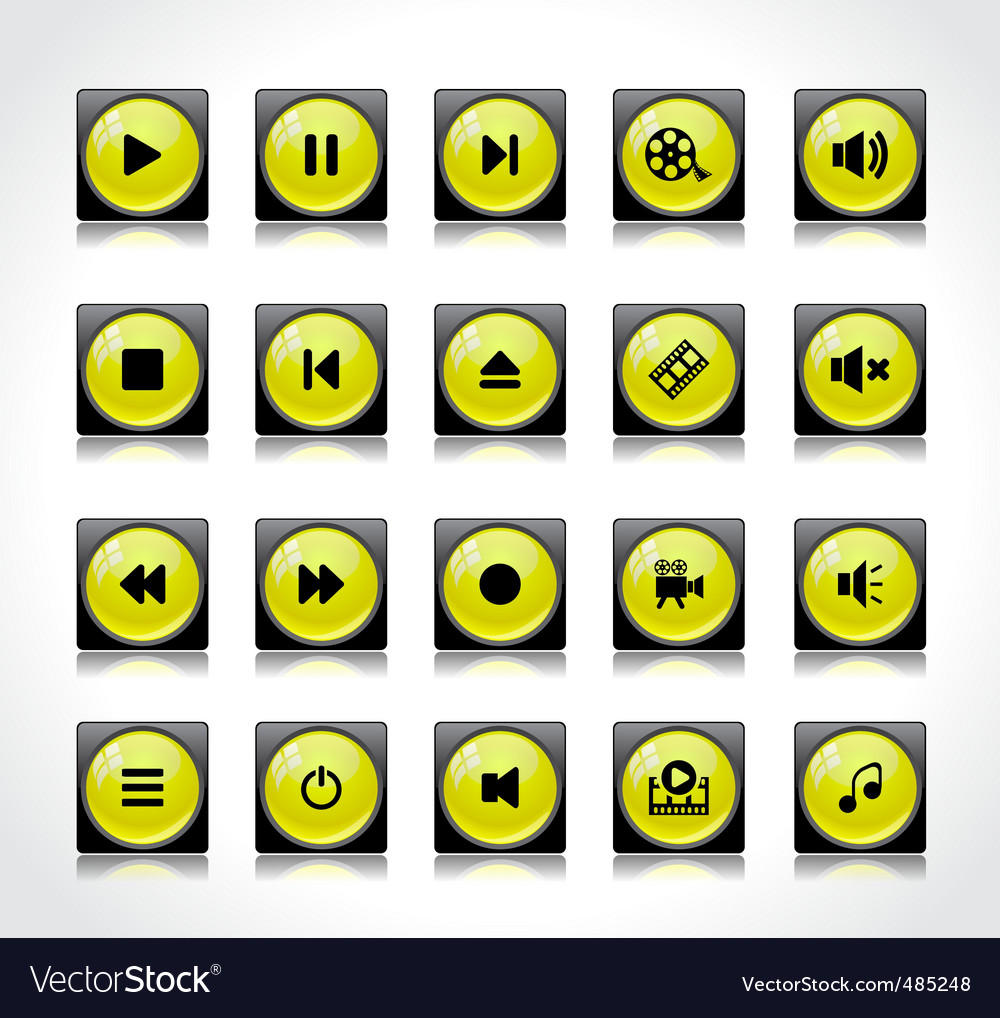 Set of media buttons vector | Price: 1 Credit (USD $1)