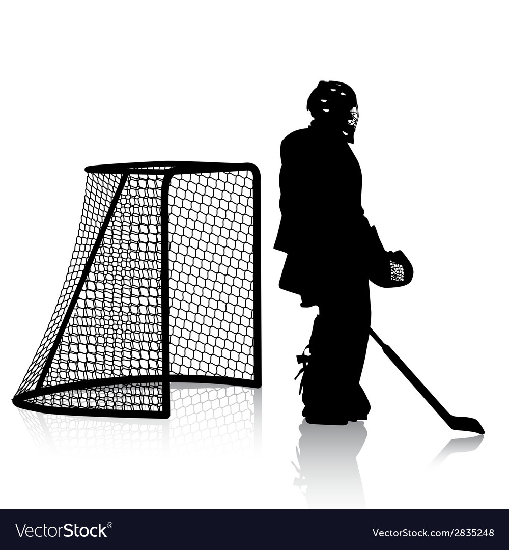 Silhouettes of hockey player isolated on white vector | Price: 1 Credit (USD $1)