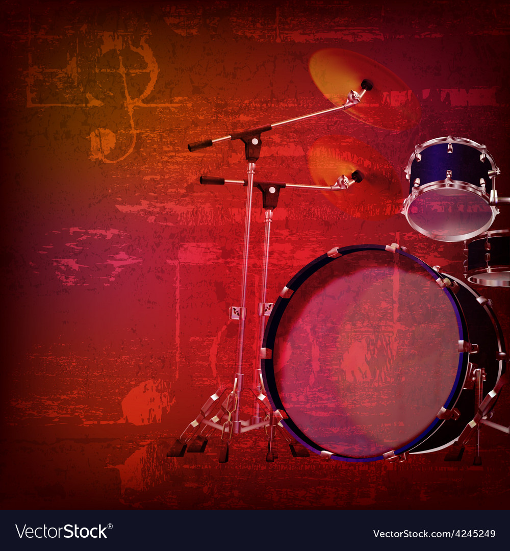 Abstract red sound grunge background with drum kit vector | Price: 3 Credit (USD $3)