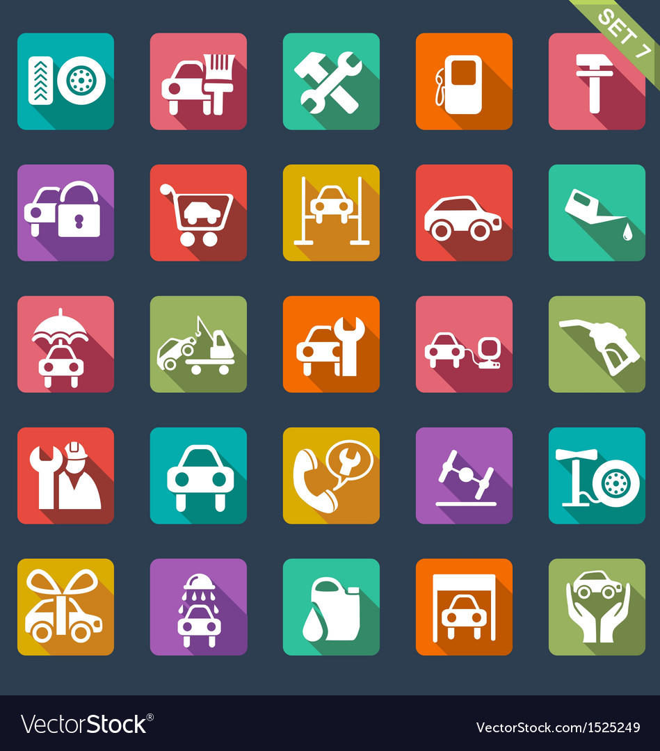 Auto service icon set - flat design vector | Price: 1 Credit (USD $1)