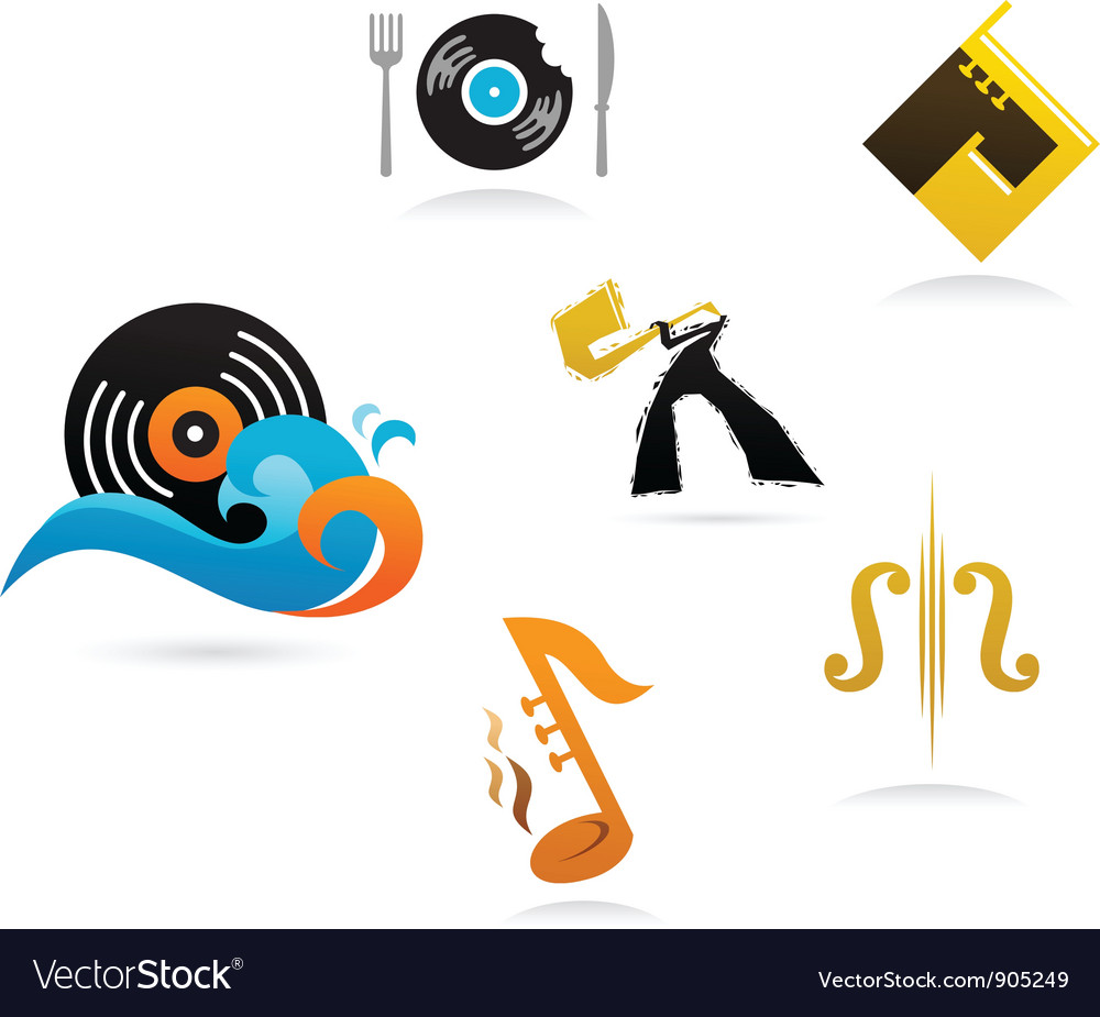 Collection of music icons and elements vector | Price: 1 Credit (USD $1)