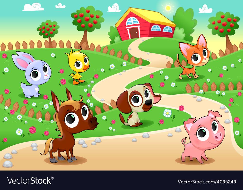 Funny farm animals in the garden vector | Price: 3 Credit (USD $3)