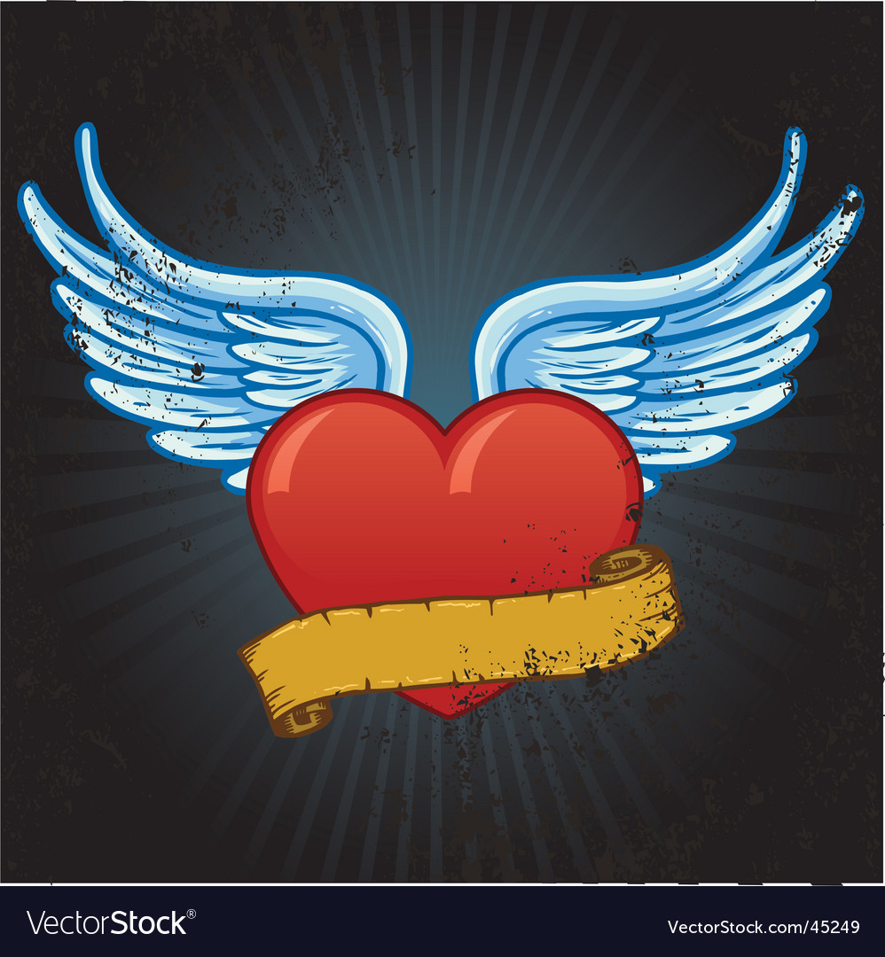Heart banner vector   Price: 1 Credit (USD $1)