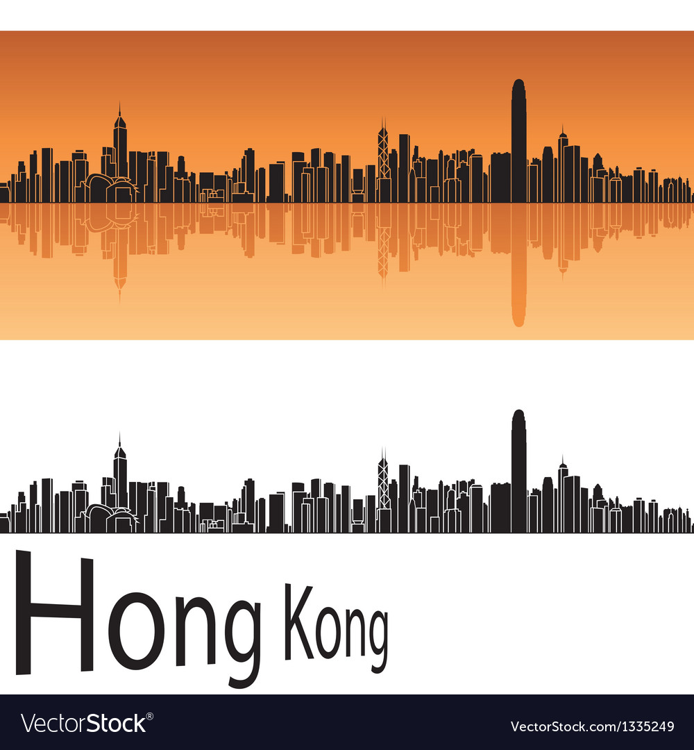 Hong kong skyline in orange background vector | Price: 1 Credit (USD $1)
