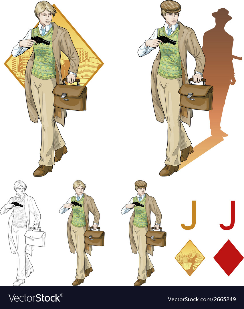 Jack of diamonds boy with a gun mafia card set vector | Price: 3 Credit (USD $3)