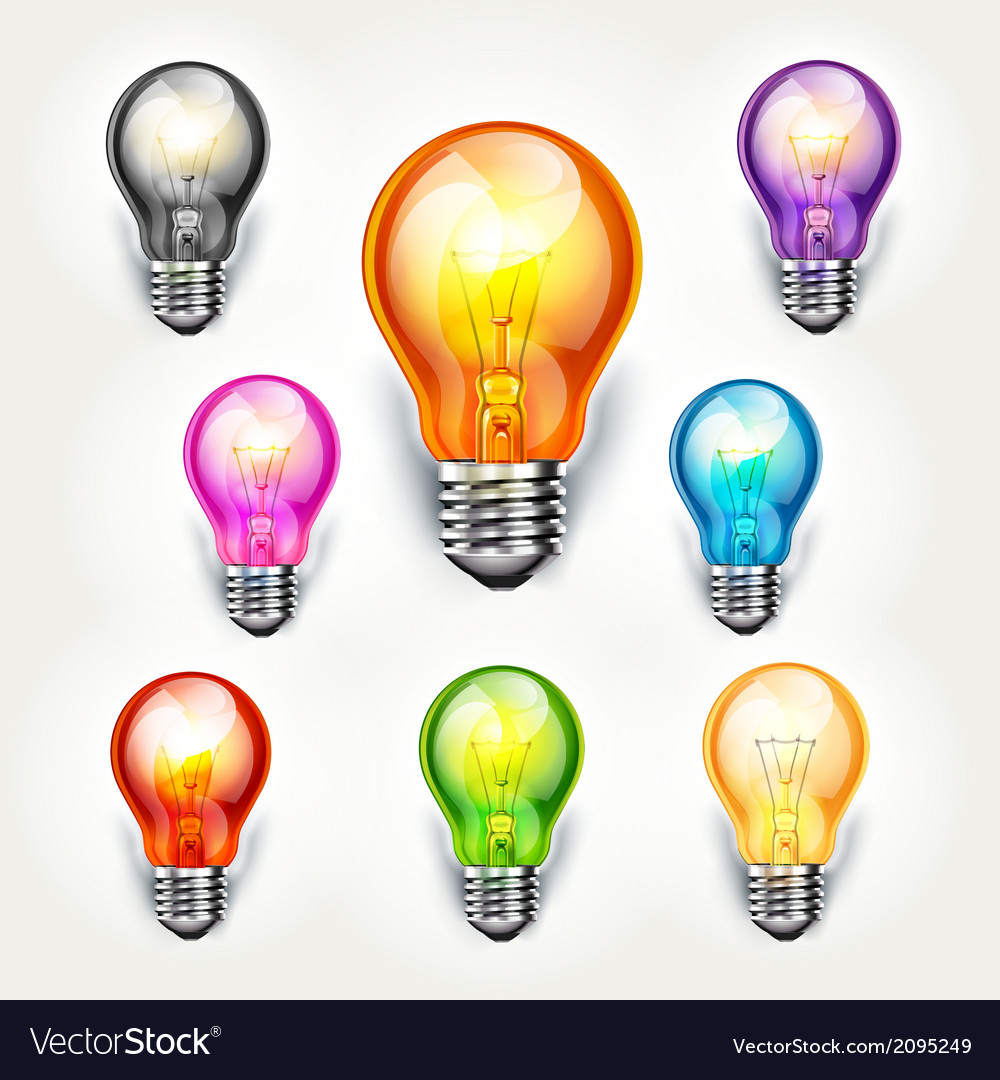 Light bulb color set vector | Price: 1 Credit (USD $1)