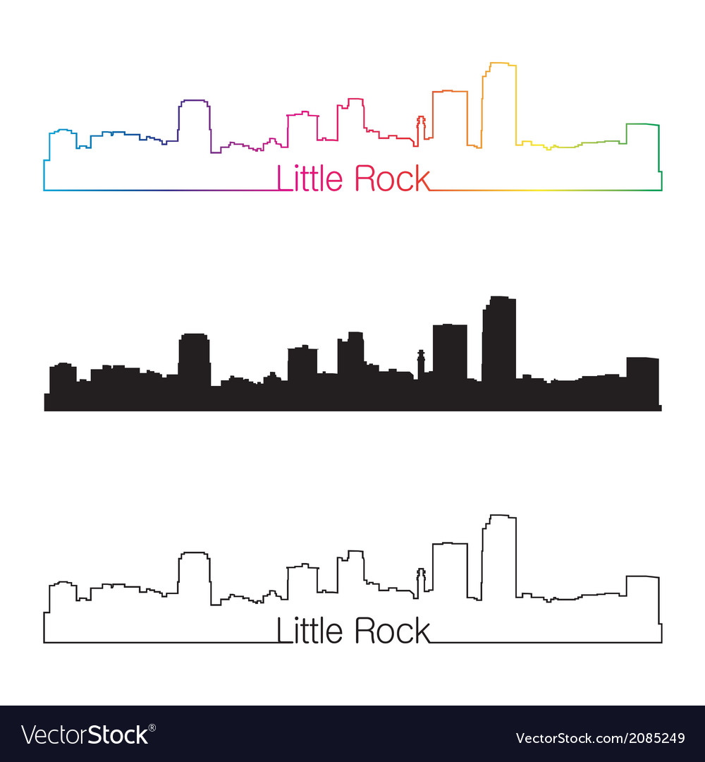 Little rock skyline linear style with rainbow vector | Price: 1 Credit (USD $1)