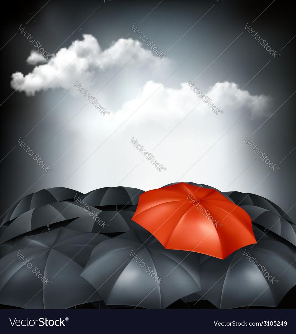 One red umbrella in a group of grey umbrellas vector | Price: 1 Credit (USD $1)