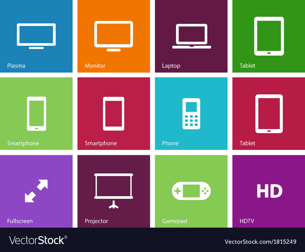 Screens icons on color background vector   Price: 1 Credit (USD $1)
