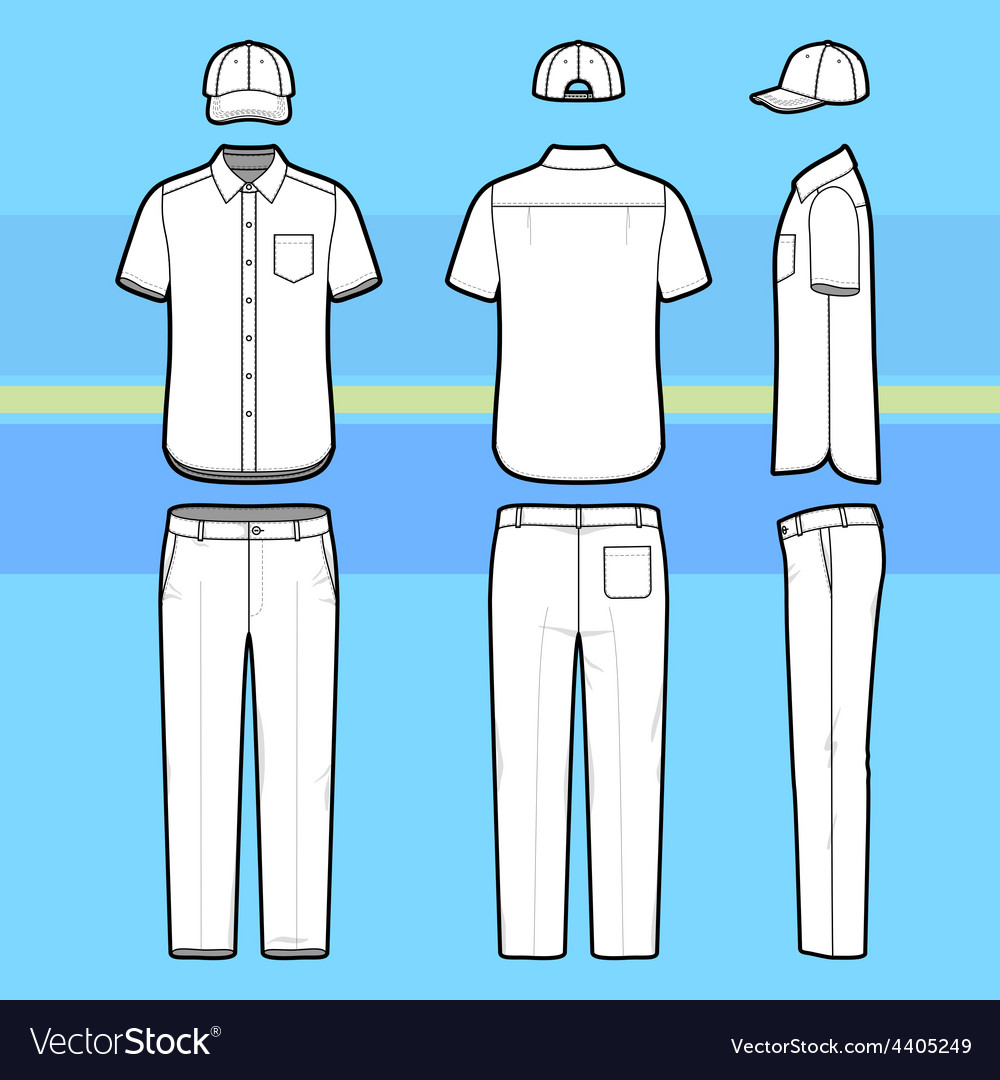Simple outline drawing of a shirt pants and cap vector | Price: 1 Credit (USD $1)