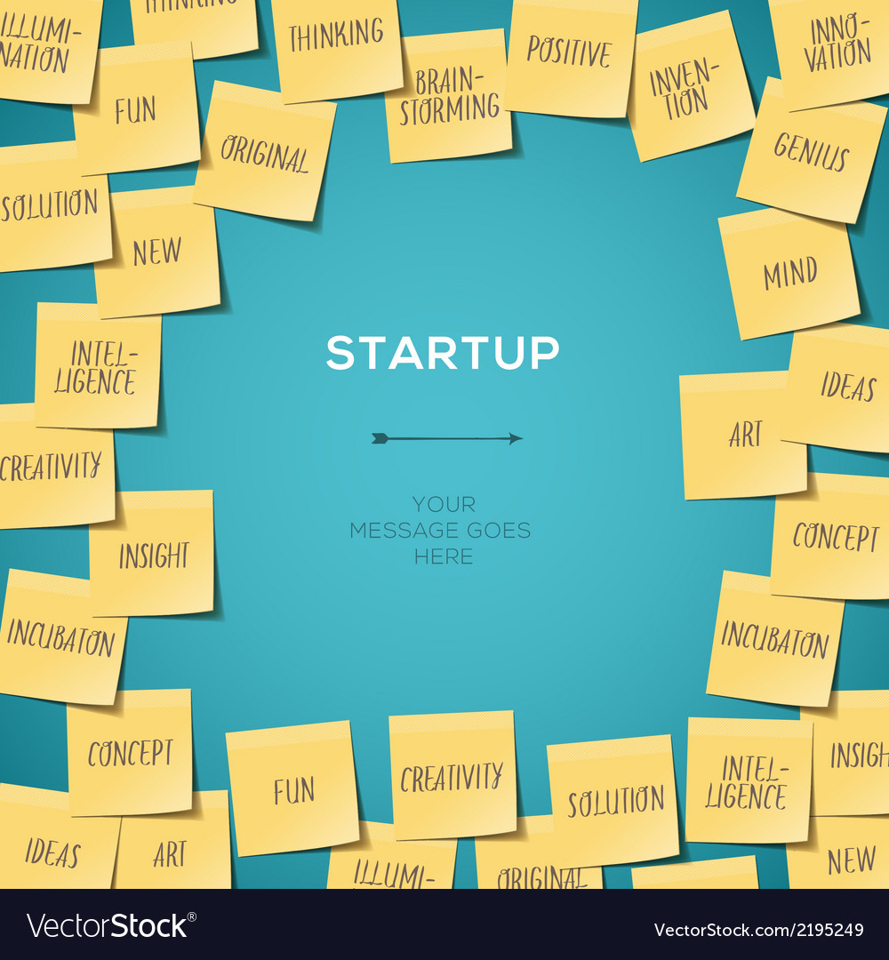 Start up concept template with post it notes vector | Price: 1 Credit (USD $1)