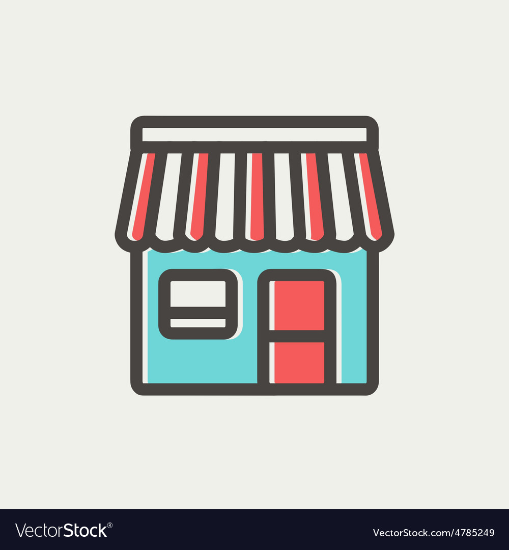 Store stall thin line icon vector | Price: 1 Credit (USD $1)
