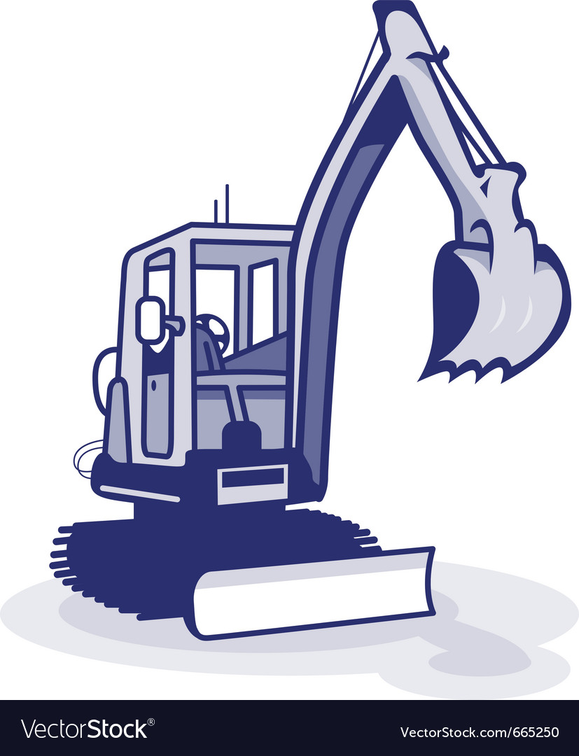 A blue digger machinery vector | Price: 1 Credit (USD $1)