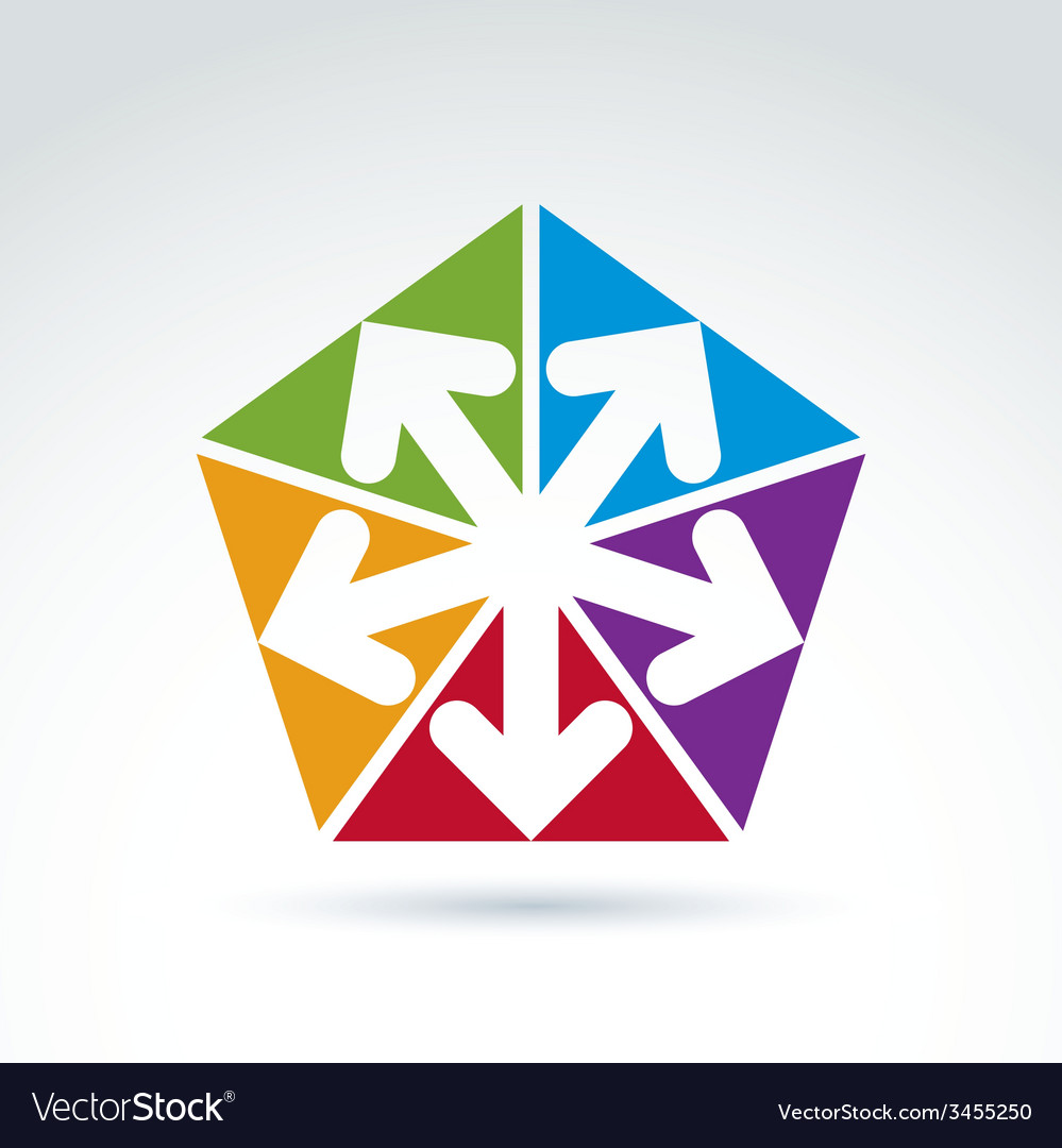 Abstract emblem with five multidirectional arrows vector | Price: 1 Credit (USD $1)