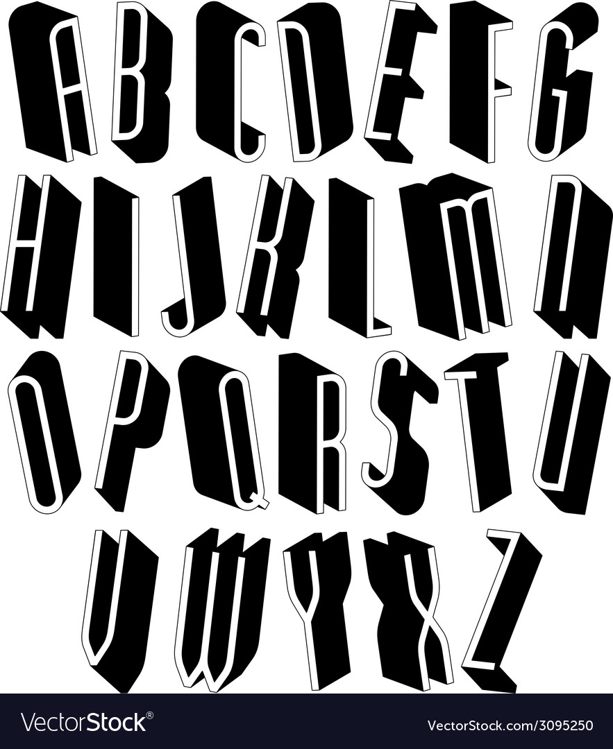 Black and white tall 3d font vector | Price: 1 Credit (USD $1)