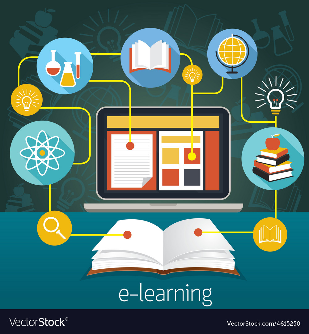 Book and laptop with e-learning icons vector | Price: 1 Credit (USD $1)