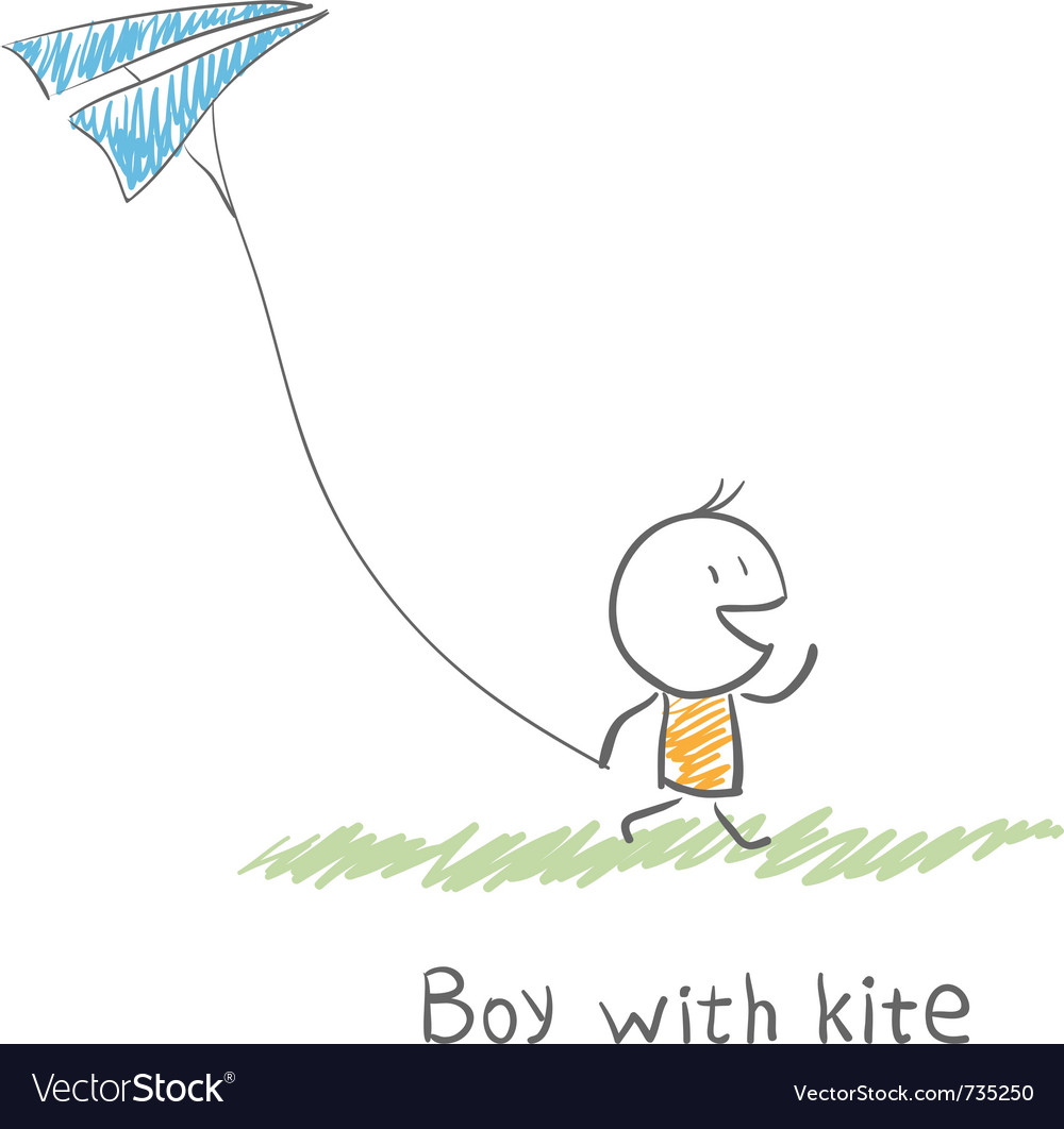 Boy with kite vector | Price: 1 Credit (USD $1)