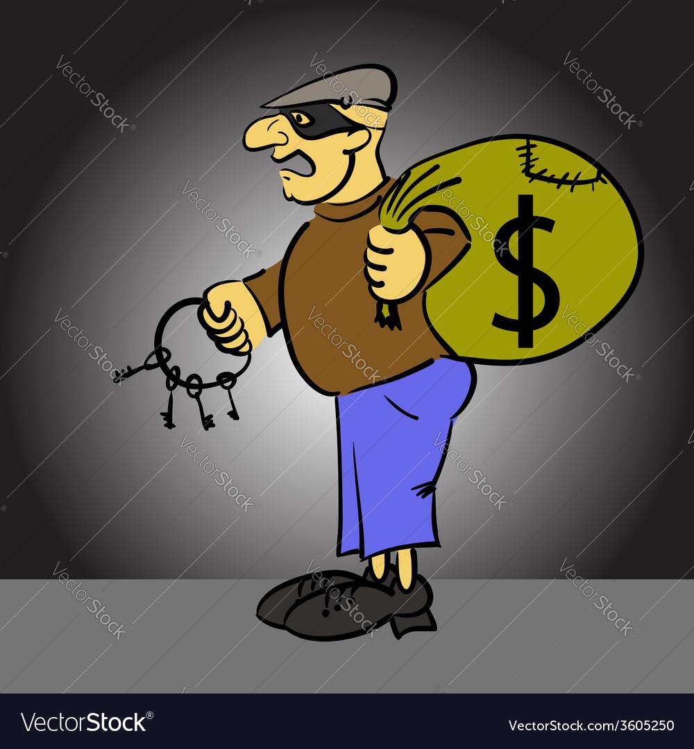 Cartoon thief vector | Price: 1 Credit (USD $1)