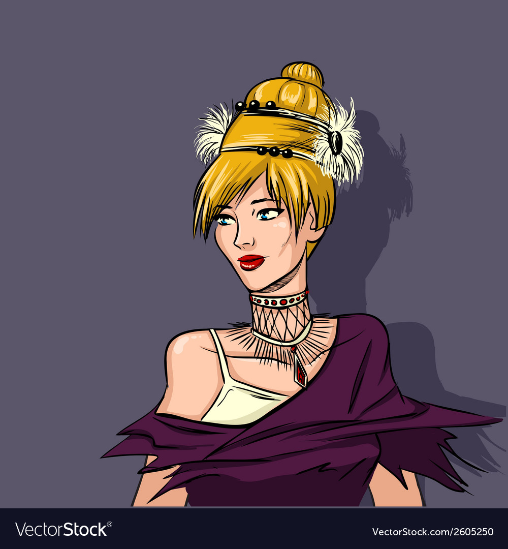 Extravagant portrait of woman high fashion vector | Price: 1 Credit (USD $1)
