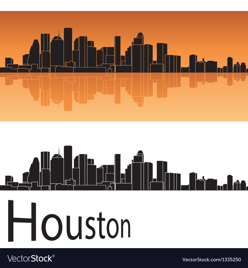 Houston skyline in orange background vector | Price: 1 Credit (USD $1)